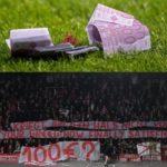 Los hinchas del Bayern arrojan dinero falso al campo para protestar por el precio de las entradas